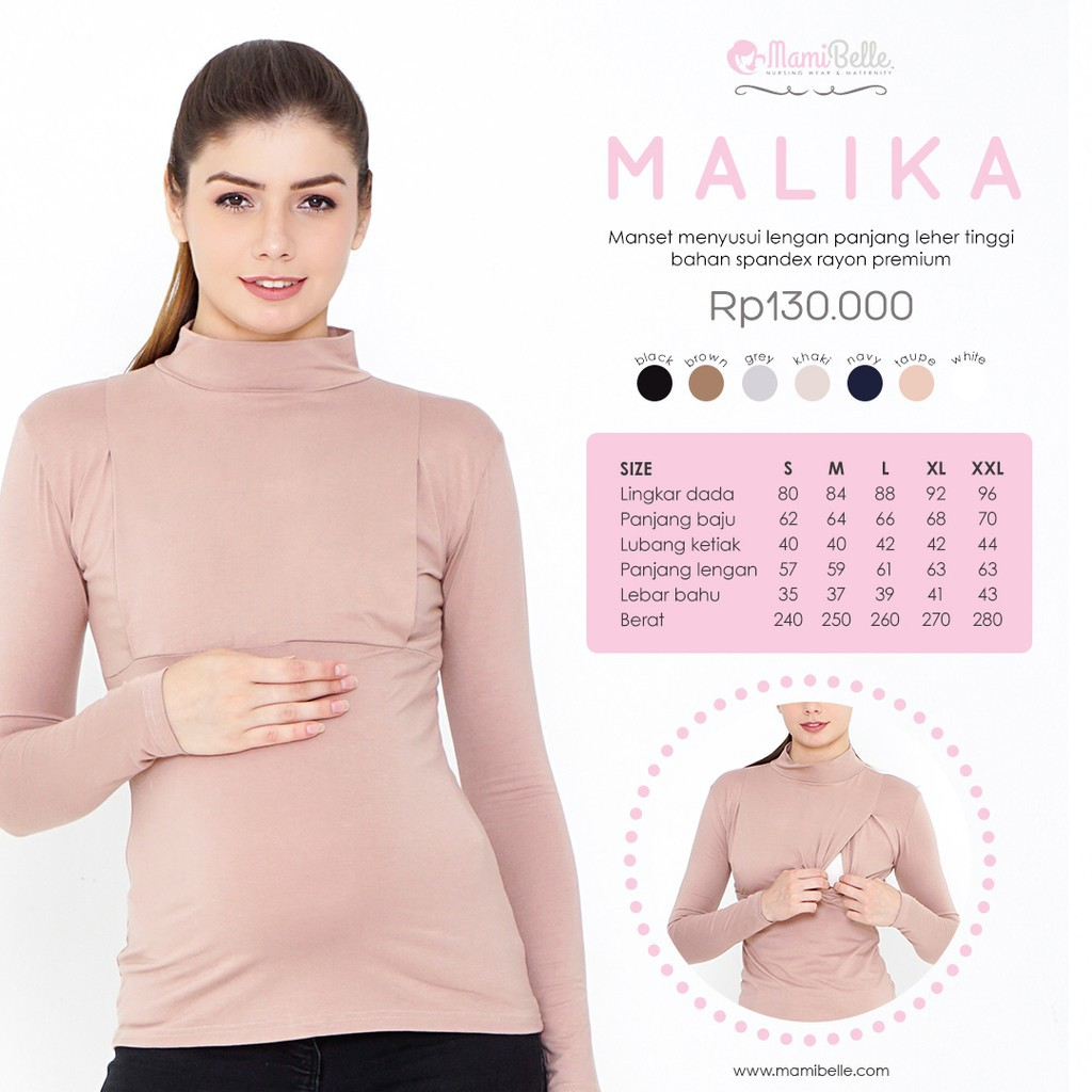 Mamibelle Malika Taupe Basic Manset Menyusui Baju Just Mom Aisha Hitam Turtleneck Lengan Panjang Shopee Indonesia