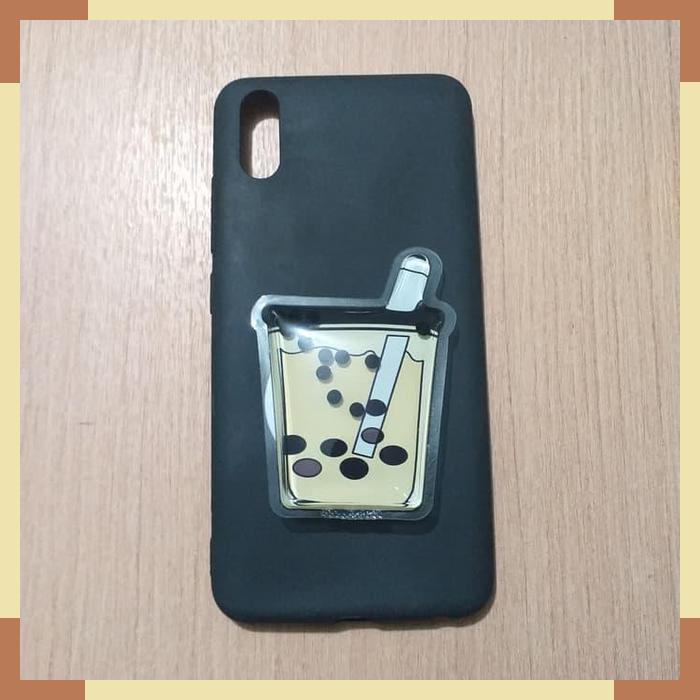 Case Vivo Y91c Softcase Popsocket 3d Boba Milk Tea Quicksand Cute Shopee Indonesia