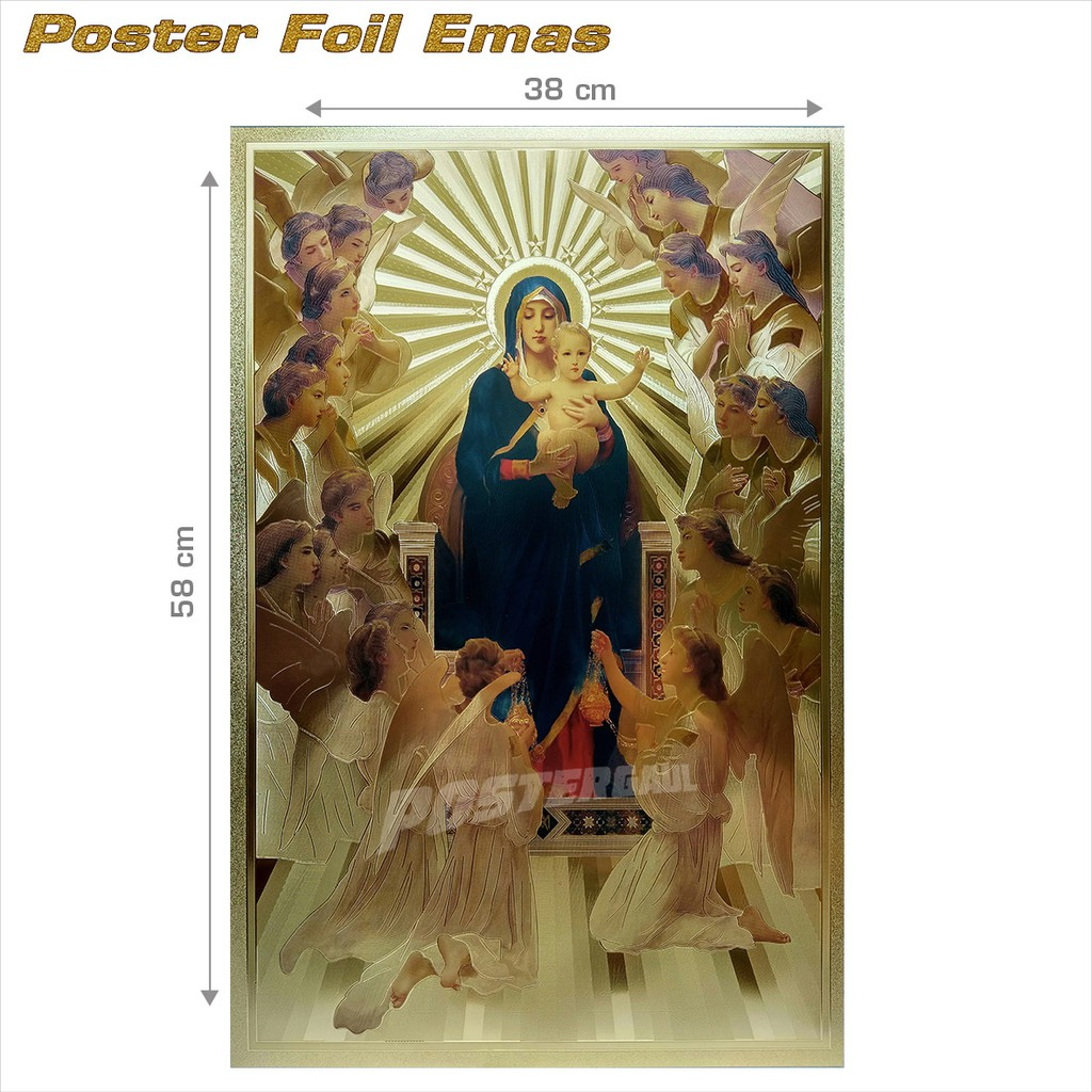 Poster foil emas YESUS KRISTUS #FO13 - ukuran 38 X 58 cm | Shopee Indonesia