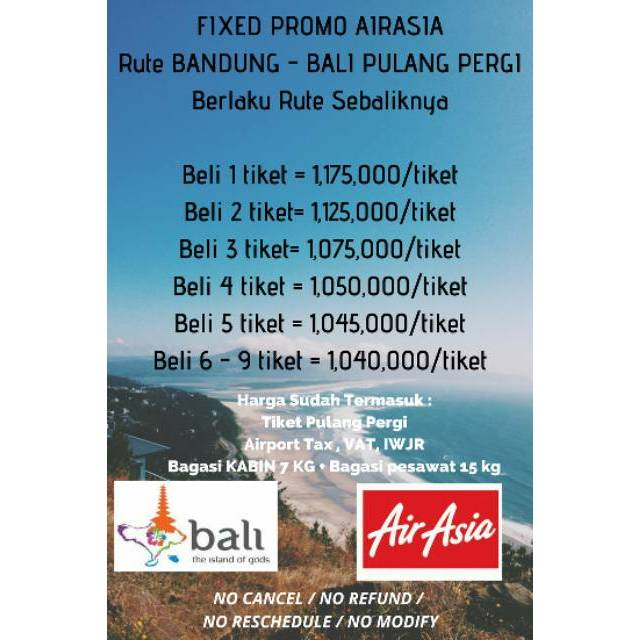 Tiket Pesawat Promo Airasia Rute Bandung Bali Pulang Pergi