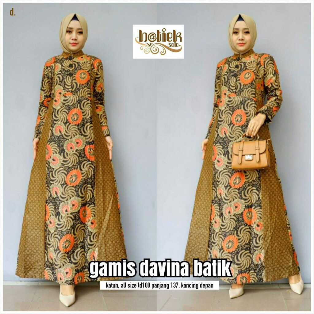 Batik Tulis Dress: GAMIS DAVINA BATIK PREMIUM SOGAN LONG DRESS HIJAB MODERN