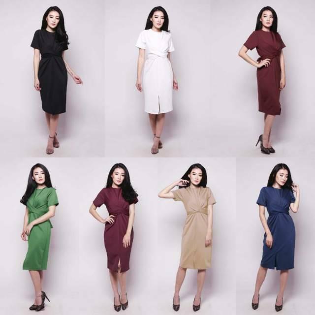 Sato Tied Dress Fashion Baju Outfit Pakaian Gaun Casual Fit Bodycon Lengan Pendek Cewek Wanita Murah