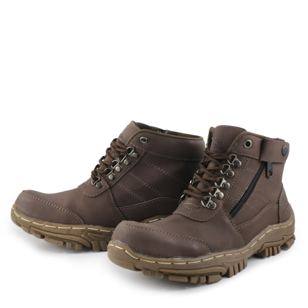 ☄❀▦Winter men's shoes snow boots high warm velvet cotton leather waterproof anti-skid thickened wor | Shopee Indonesia