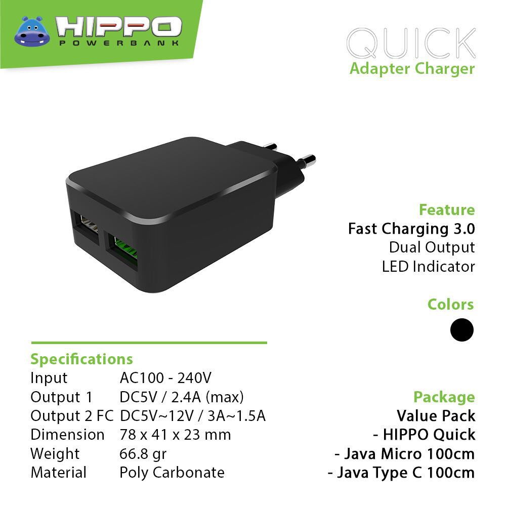 Hippo Pupa Usb Adaptor Charger 24a Simple Pack Shopee Indonesia Ultron Kabel Data Type C 100 Cm Hitam