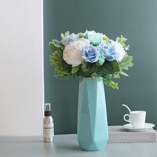 Msk Vas Bunga Mawar Artifisial Bahan Sutra Warna Biru Untuk Dekorasi Rumah Shopee Indonesia