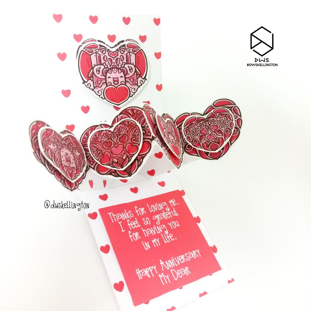 Open Heart 3D Pop Up Gift Love Card Kartu Ucapan Ulang Tahun Pacar Doodle Art