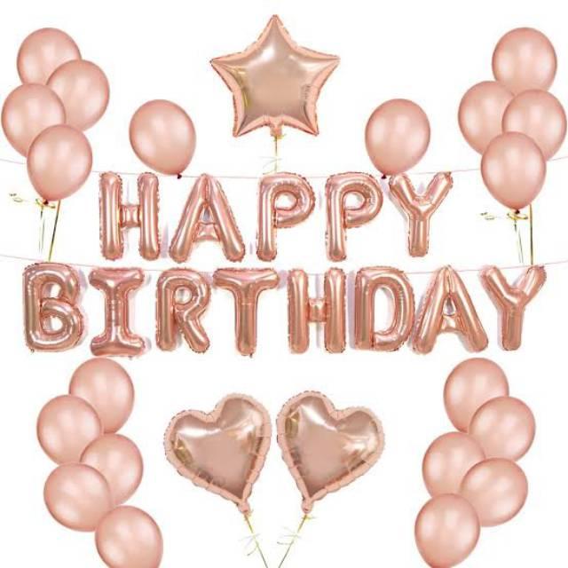 Happy Birthday Set Rose Gold Balon Foil Rose Gold Balon Huruf Balon Dekorasi Ulang Tahun Shopee Indonesia
