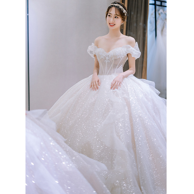 Luxurious White Bright Wedding Dress Off Shoulder Slim Fit Long Tail Bridal Ball Gown Dresses Shopee Indonesia