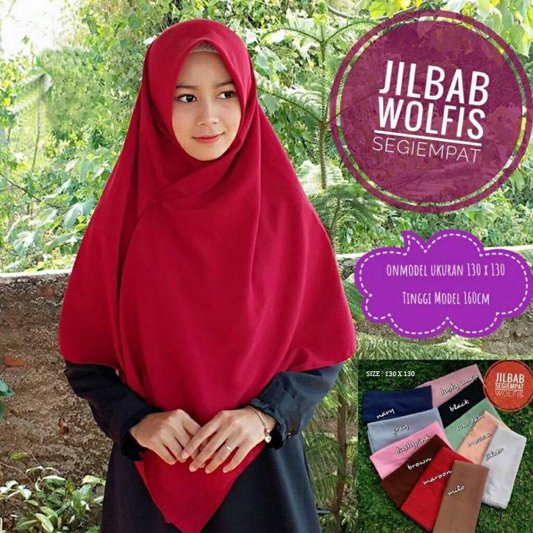 SEGIEMPAT JUMBO 130X130/HIJAB/WOLFIS/KHIMAR SYARI/JILBAB SYARI/BEST SELLER/ SEGIEMPAT POLOS | Shopee Indonesia