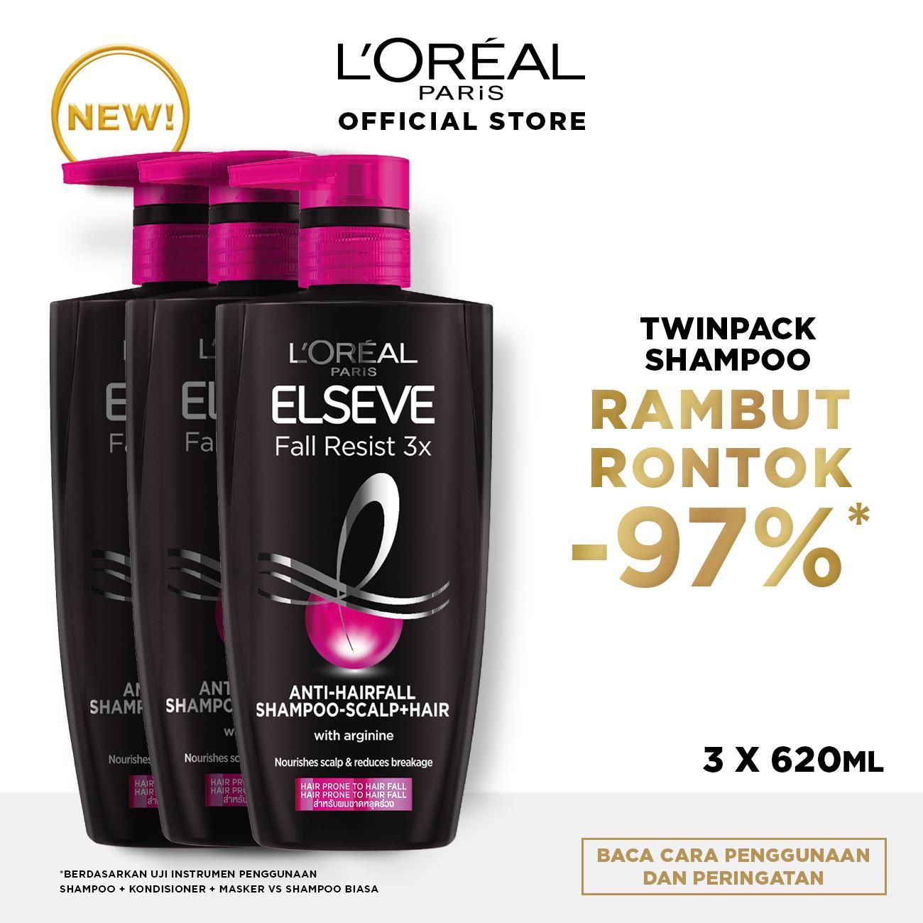 L'Oreal Paris Fall Resist 3x Shampoo Hair Care - 620 ml x3 Pcs (Perawatan Untuk Rambut Mudah Rontok)