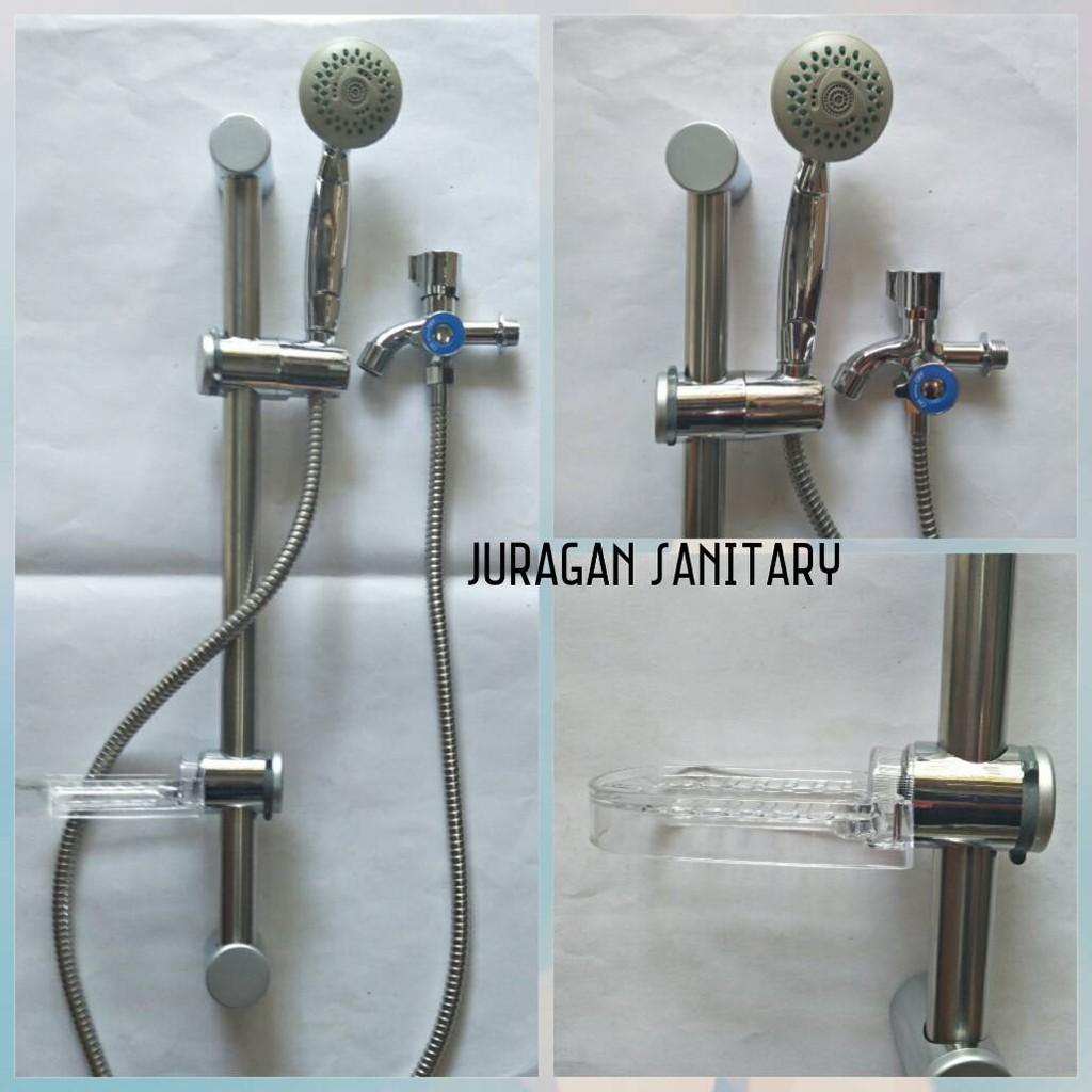 Bracket Bathroom Abs Shower Head Holder Wall Mount Handheld Adjustable Slider   Shopee Indonesia