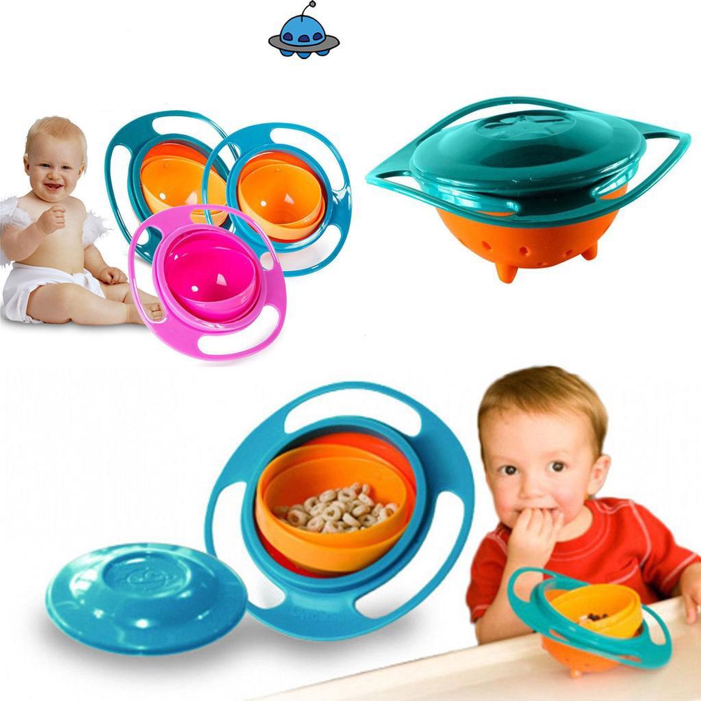 Mangkuk Makanan dengan Bahan Anti-Tumpah Dapat Berputar 360 untuk Bayi / Anak-Anak