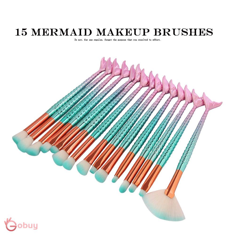 10Pcs Brush Kosmetik/Makeup Bentuk Ekor Putri Duyung Plastik Hijau Berkilau, Bulu Nilon GBYZ