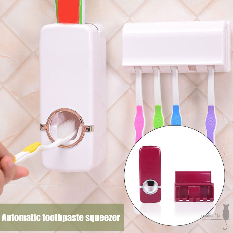 Bathroom Accessories Tooth Brush Holder Automatic Toothpaste Dispenser Holder Toothbrush Wall Mount Rack Shopee Indonesia