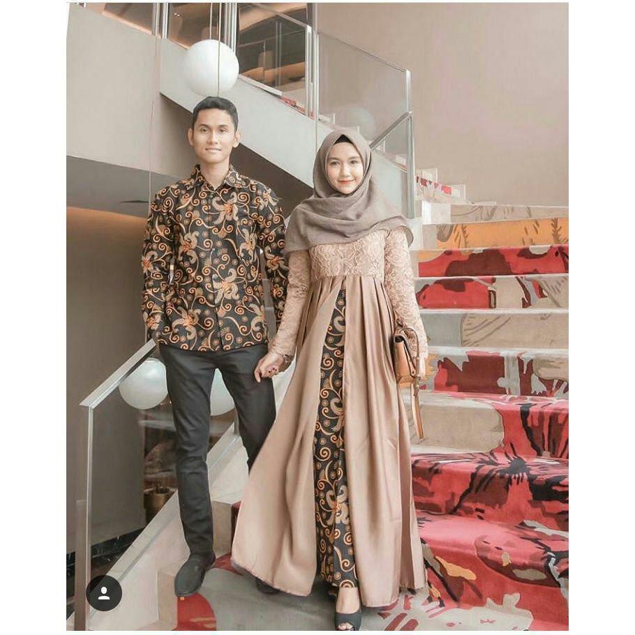 Gamis Batik Couple Muslimah New Modern Busana Batik Balotelli Polos Mix  Katun Prada Klama Couple