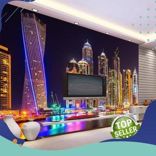 PROMO Kustom 3D Foto Wallpaper Dubai Pemandangan Malam Kota Bangunan  Dinding Mural Kertas Dinding