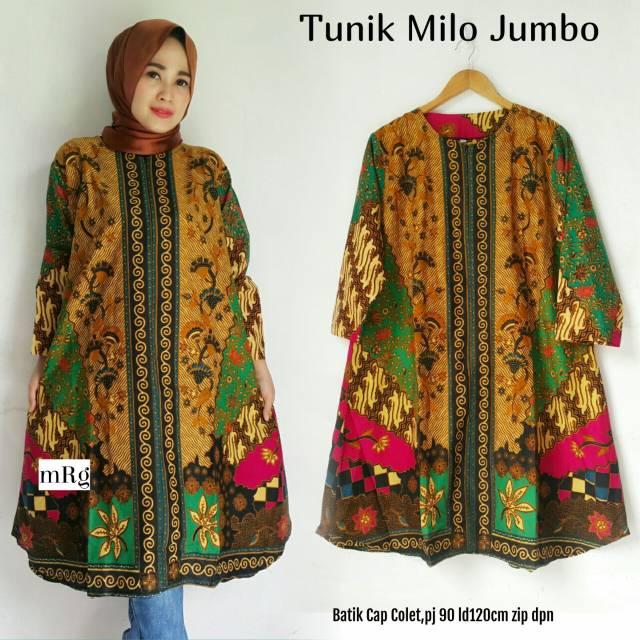 Tunik Batik Modern Jumbo Tunik Batik Big Size Tunik Batik Wanita Atasan Orang Gemuk
