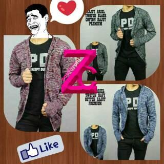 Gratis Ongkir- Rajut Ariel Twoton polos Navy Cotton Premium Jaket Sweater Hoodie Zipper maroon hitam