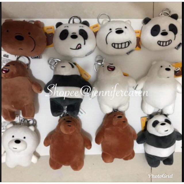 We bare bears Keychain by miniso gantungan kunci boneka panda ice bear grizzly lucu boneka wbb | Shopee Indonesia