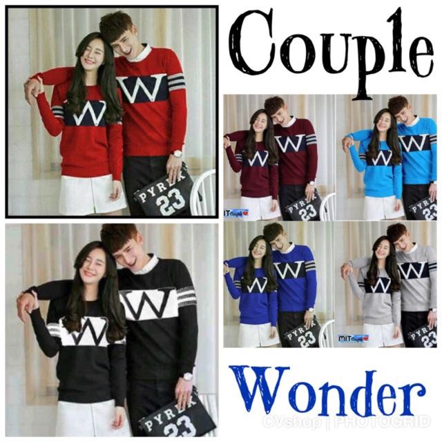 couple wonder / couple w / Baju pasangan Sweater / sweater couple / swetaer pasangan / baju couple | Shopee Indonesia