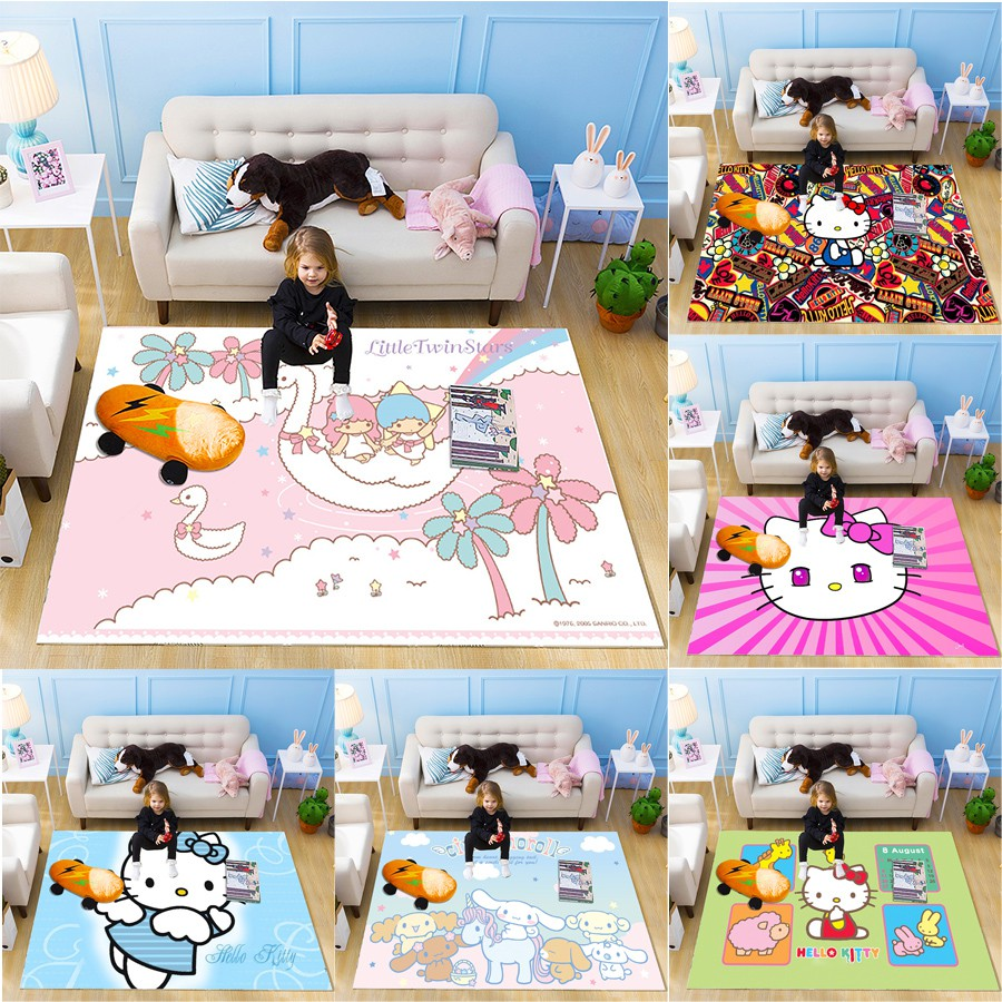 Karpet Permadani Desain Hello Kitty Untuk Ruang Tamu Kamar Tidur Anak Shopee Indonesia