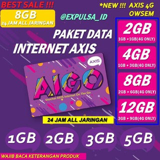 AXIS PAKET DATA  INTERNET BRONET VOUCHER AIGO CHAT KUOTA 1GB 2GB 3GB 5GB 8GB 10GB 16GBJ