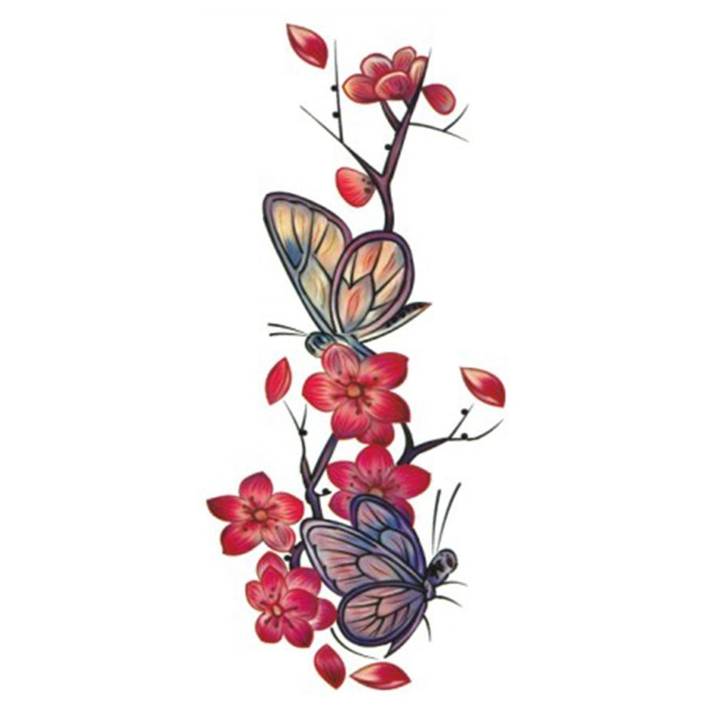Stiker Tato Sementara Motif Bunga Mawar Kupu Kupu Sexy Shopee Indonesia