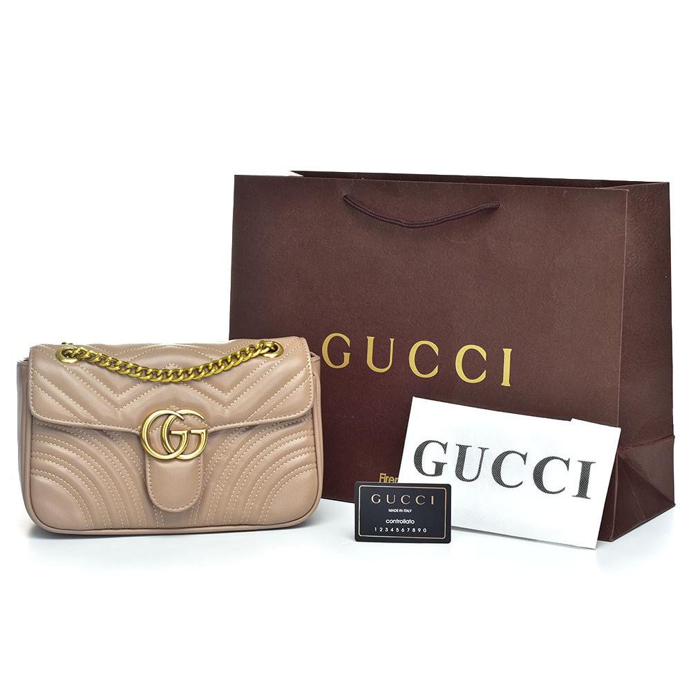 da63eb23618c Tas Gucci Shoulder GG Marmont Matelasse Small Cream Apricot Semi Premium  AP1732 | Shopee Indonesia