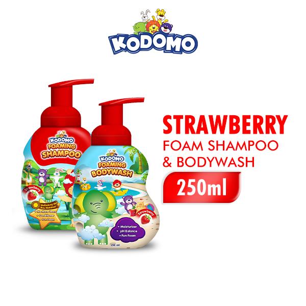 Kodomo Shampoo Foam Strawberry 250 ml + Kodomo Bodywash Foam Strawberry Botol 250 ml