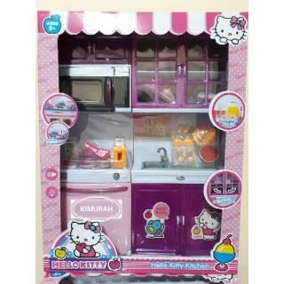 mainan anak masak masakan modern kitchen play set hello kitty dapur