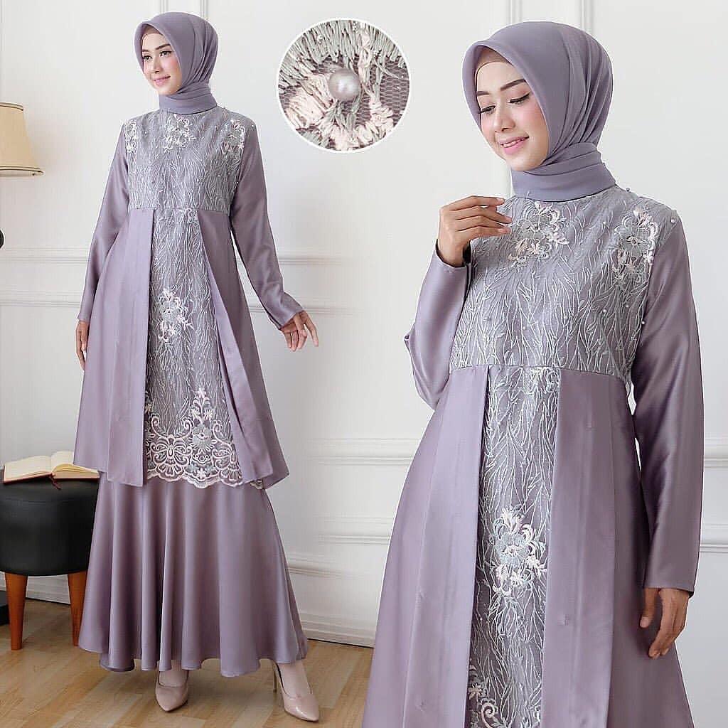 ZARINA DRESS Velvet Mix Brukat App Mutiara Lengan Panjang Baju Gamis Muslim  Wanita Terbaru