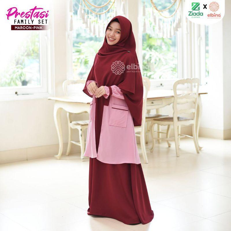 SET PRESTASI MAROON-PINK (Dress, Outer, Khimar) *by Elbina Hijab