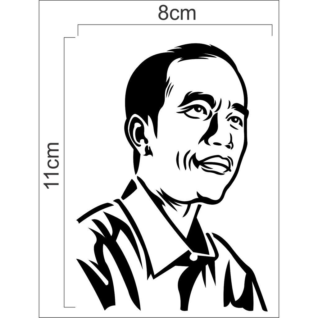 Sticker Cutting Sketsa Jokowi Gambar Wajah Jokowi Shopee Indonesia