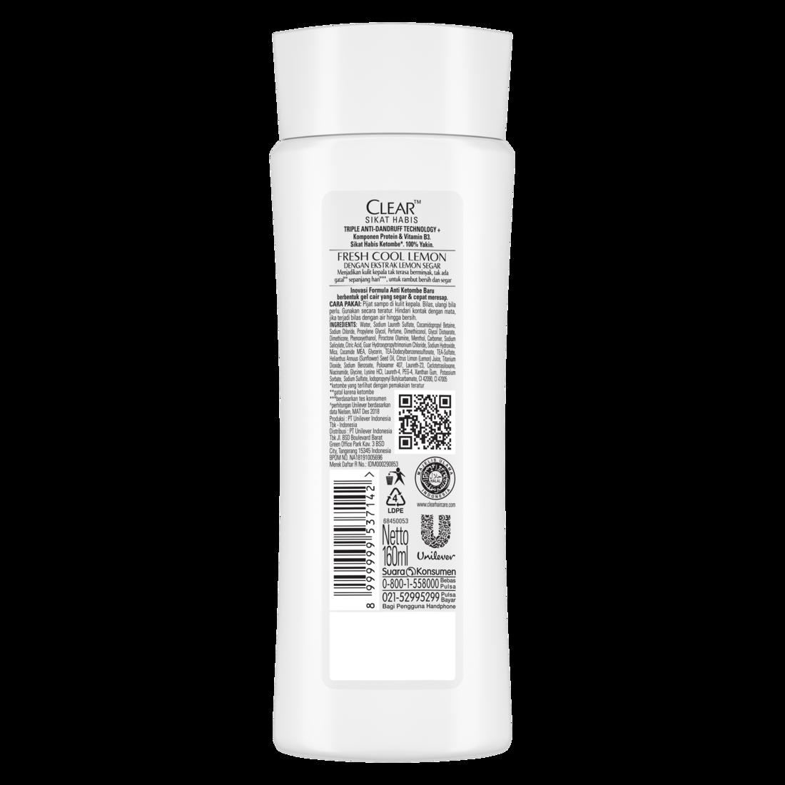 CLEAR Shampoo Anti Bacterial Fresh Cool Lemon 160 ml-1