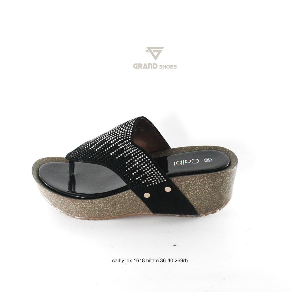 calbi nux 1549 sandal wedges wanita hitam MURAH GRATIS PROMO ORIGINAL AWET  NYAMAN SOL EMPUK  28db8731b9