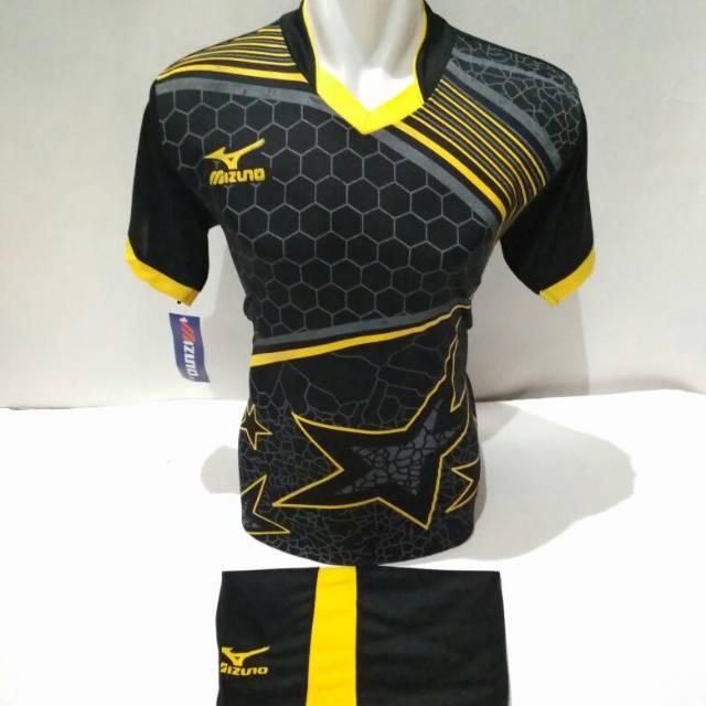 setelan olahraga kaos sepak bola jersey futsal baju volly mizuno batik  hitam kuning  b042bcbfc7
