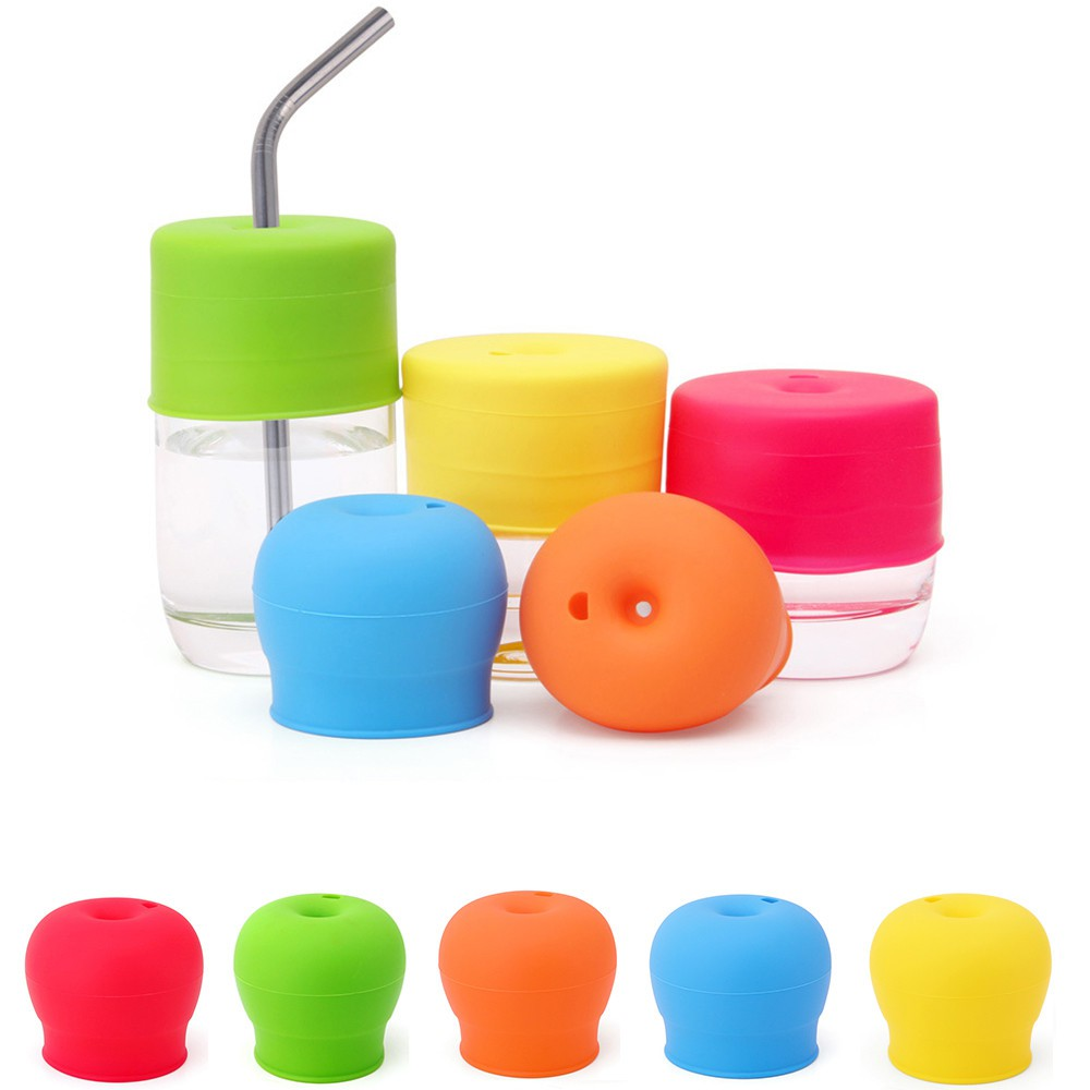 Reusable Universal Silicone Spill-Proof Sippy Cup Straw Lids Glassware Lid Folds