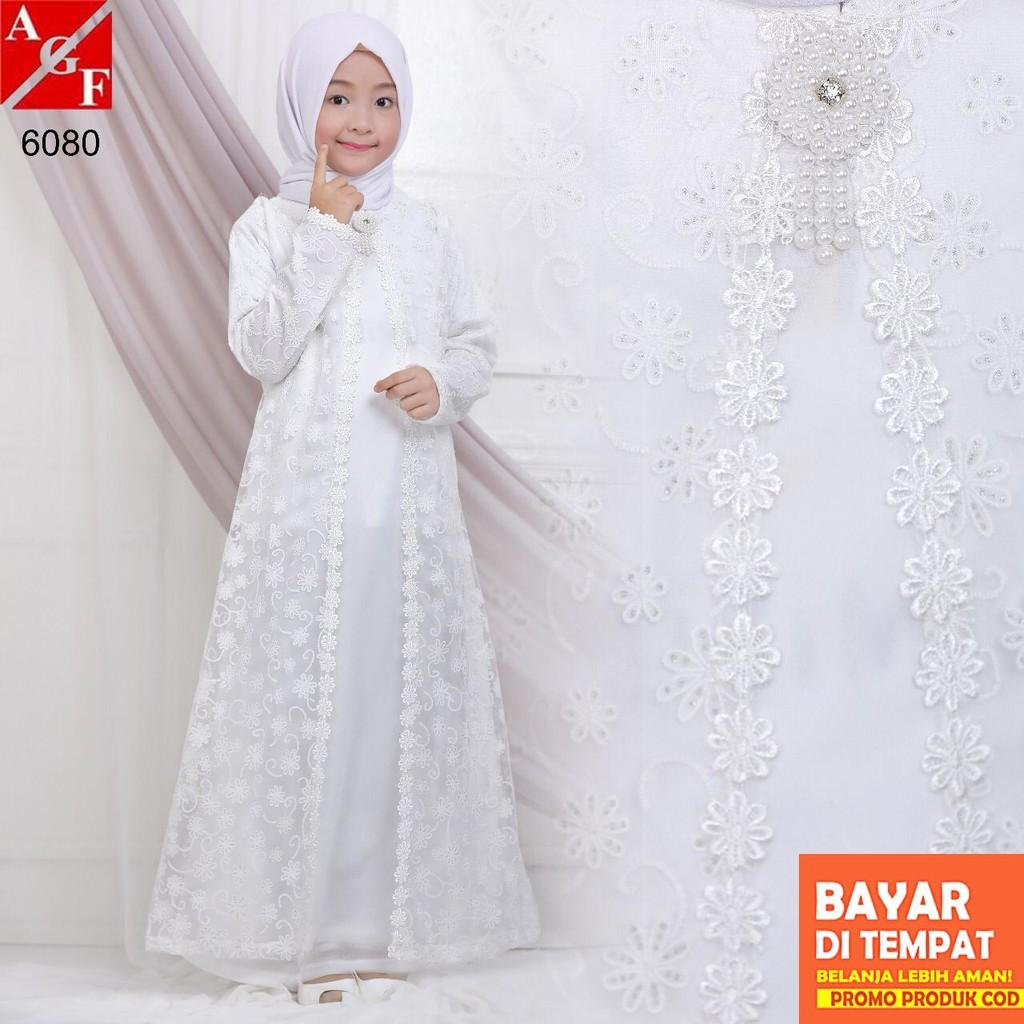 AGNES Baju Muslim Anak / Gamis Putih Anak / Gamis Putih / Baju Umroh Anak /  Baju Lebaran Anak #10