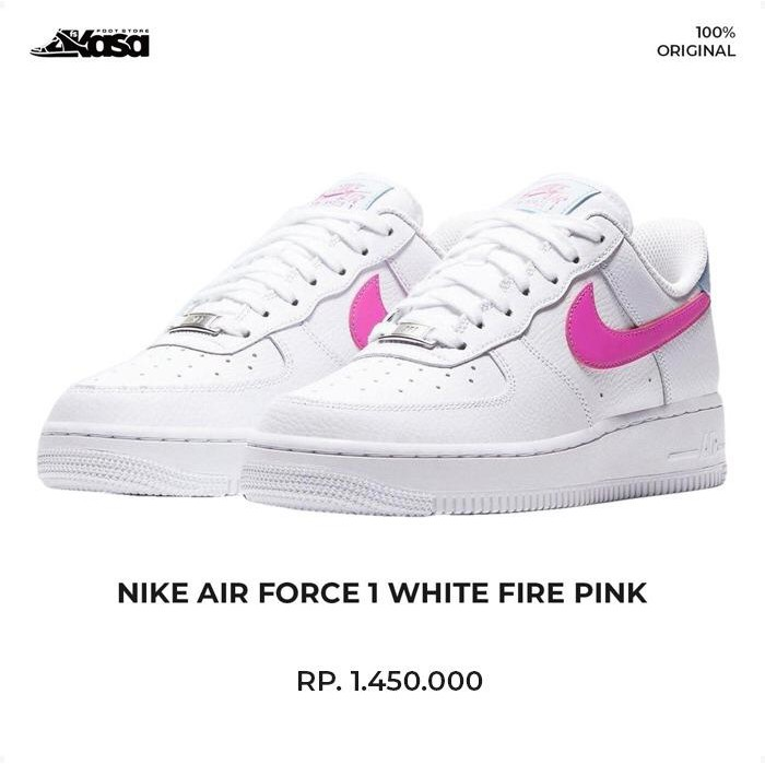 NIKE AIR FORCE 1 WHITE FIRE PINK