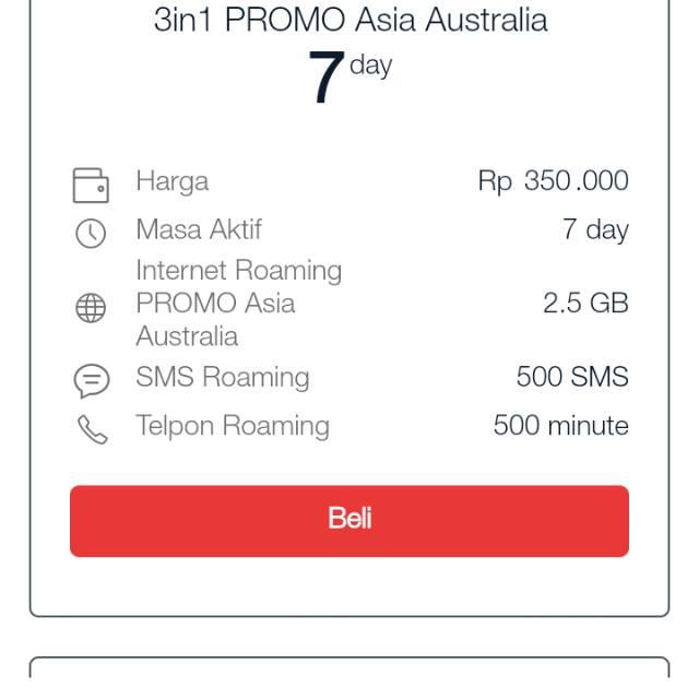 Paket Roaming 3in1 Promo Asia Australia 7 Hari 24 Jam Combo Telpon