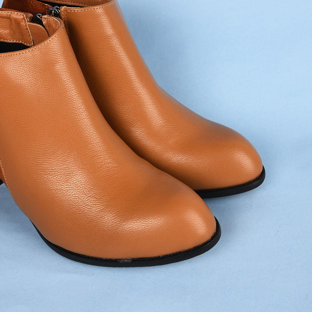 ICONinety9-Boots Heels Kotak 7cm Resleting Sintetis 90897