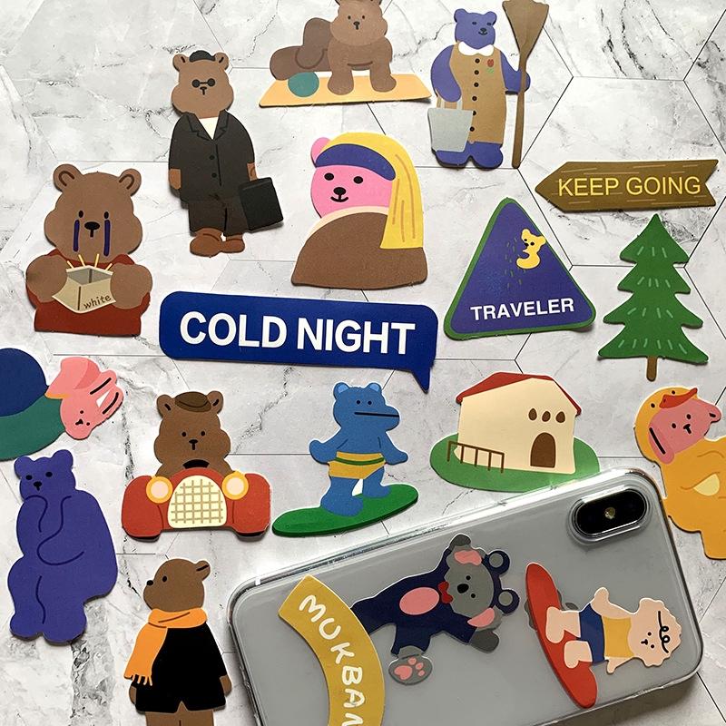 50pcs South Korea Ins Style Cute Bear Cartoon Waterproof Bumper Stickers Decorative Electric Car Mobile Phone Tablet Matte Diy Sticker Shopee Indonesia
