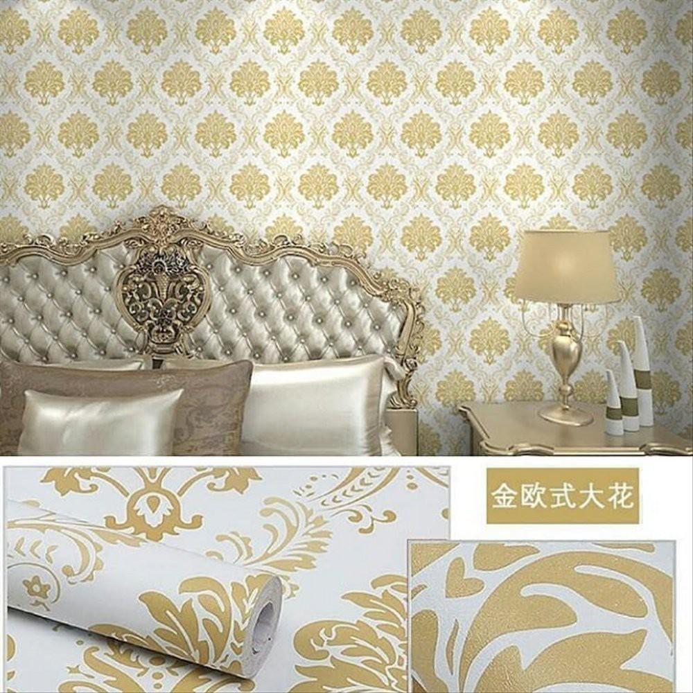 Wallpaper Dinding Batik Gold Elegan Walpaper Sticker Kamar Tidur Ruang Tamu Dapur Rumah Cantik Shopee Indonesia