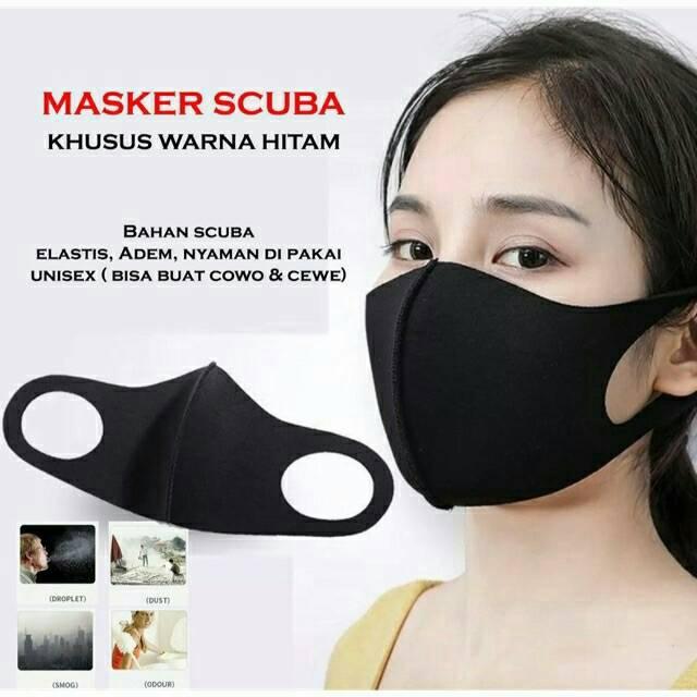 Promo Masker Masker Korea Scuba Hitam Polos 6pcs Adem Asli Stock Ready Shopee Indonesia