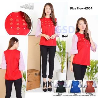 blus panjang wanita casual/baju muslim wanita/blus bunga kecil wanita/blus flow red | Shopee Indonesia