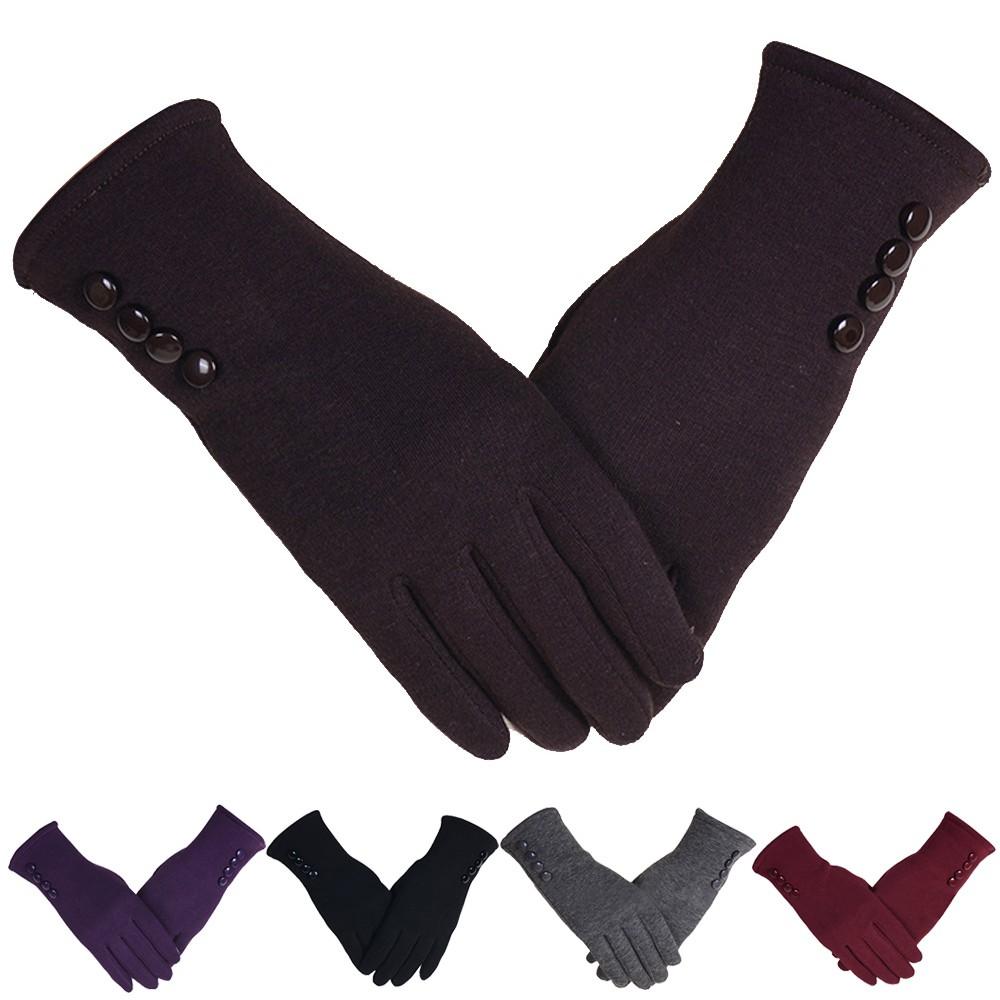1 pasangan perempuan sentuh sensitif padat warna hangat sarung tangan | Shopee Indonesia