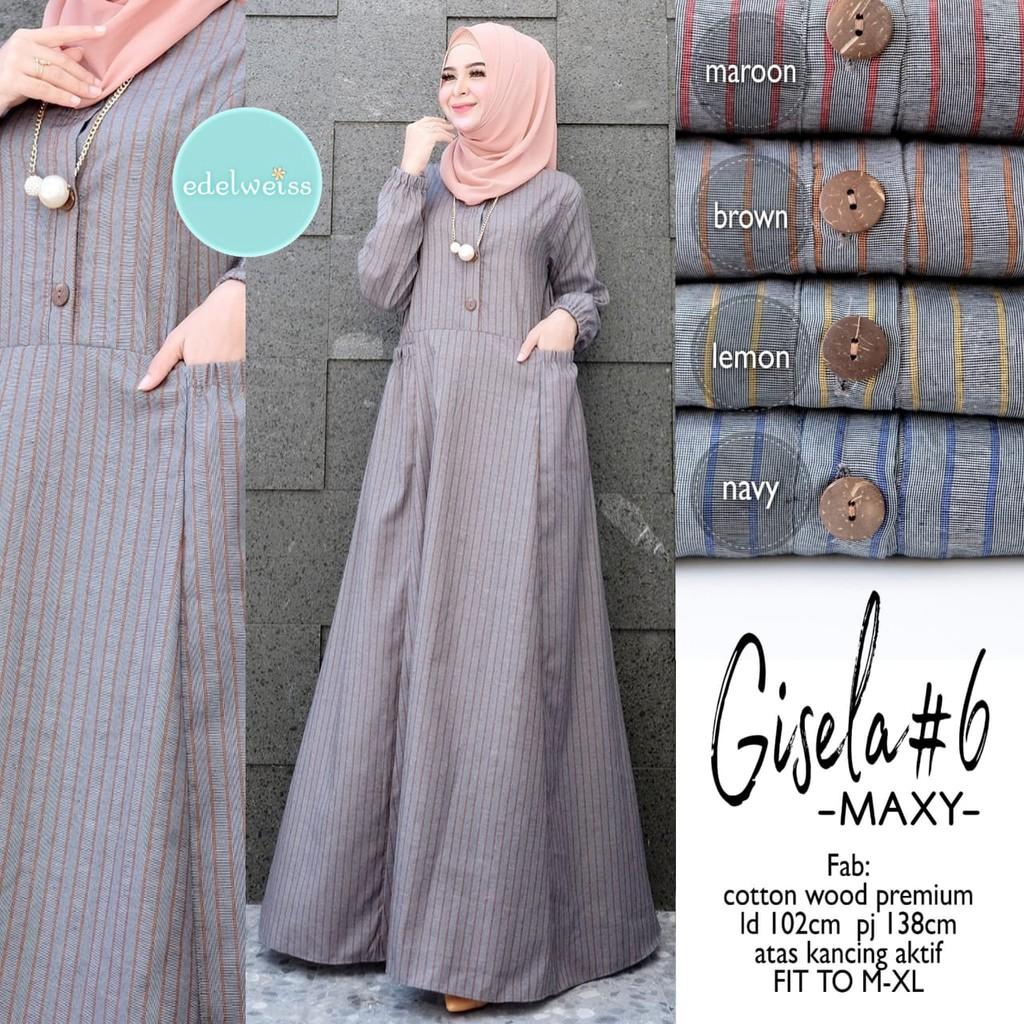 Pakaian Wanita Gamis Gamis Syari Wanita Pakaian Muslim Wanita Gisela 6 Maxi Ori Edelweiss Shopee Indonesia