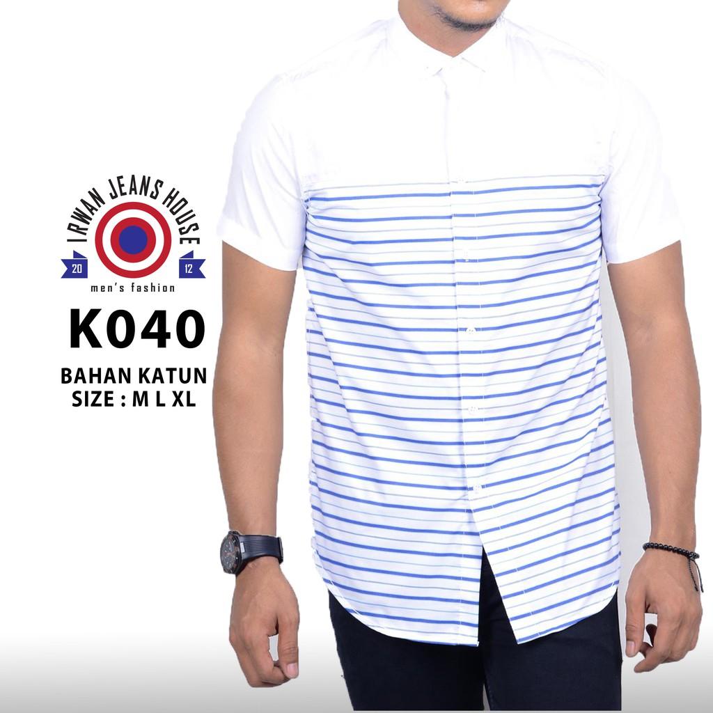 kemeja hem batik lengan pendek bahan katun warna ungu BP345 | Shopee Indonesia