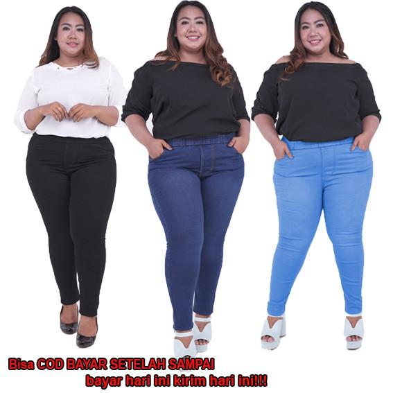 Celana Pinggang Karet Jumbo Celana Jegging Legging Jeans Celana Soft Jeans Wanita Shopee Indonesia