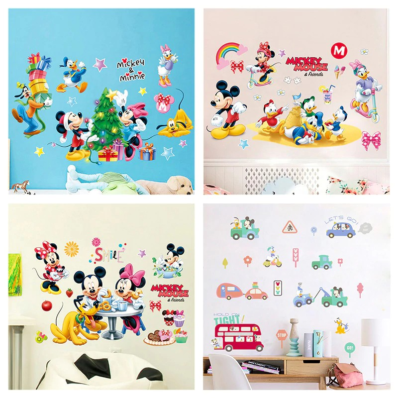 Wallpaper Dinding Cartoon Minnie Mickey Mouse Theme Wall Stickers For Kids Bedroom Playroom Shopee Indonesia